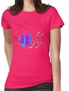 Psychedelic Fractal Teal and Purple Snail Shell Womens Fitted T-Shirt