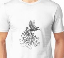 Flying Bird, Black and White, Digital Drawing, 2017 Unisex T-Shirt