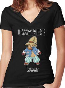Gaymer Bear  Women's Fitted V-Neck T-Shirt
