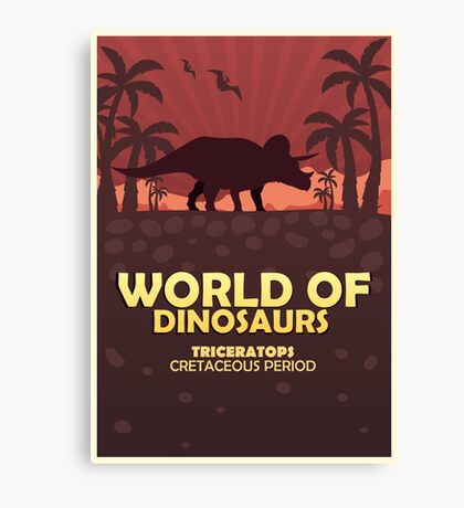 Poster World of dinosaurs. Prehistoric world. Triceratops Canvas Print