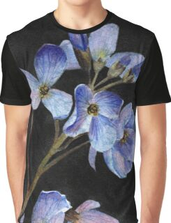 Blue Watercolor Flowers Graphic T-Shirt