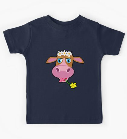 Funny cow with flower cartoon Kids Tee