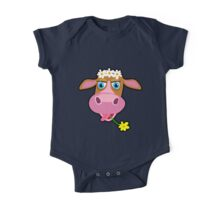 Funny cow with flower cartoon One Piece - Short Sleeve