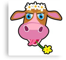 Funny cow with flower cartoon Canvas Print