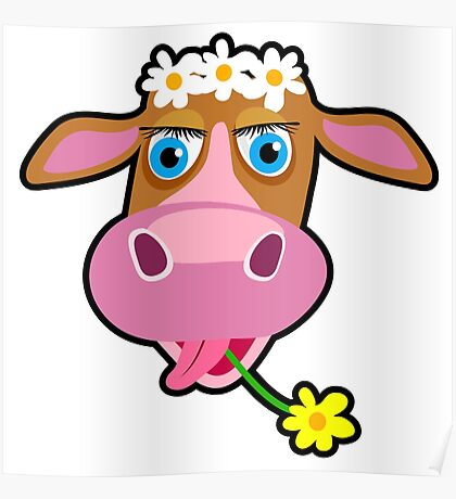 Funny cow with flower cartoon Poster