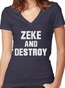 Zeke and Destroy Women's Fitted V-Neck T-Shirt