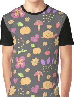 Summer pattern with flowers, fruit and snails Graphic T-Shirt