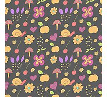 Summer pattern with flowers, fruit and snails Photographic Print