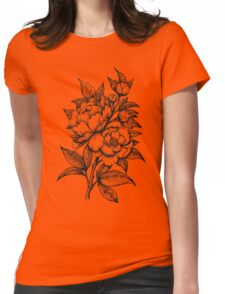 PEONIES - Lineart Womens Fitted T-Shirt