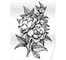 PEONIES - Lineart Poster