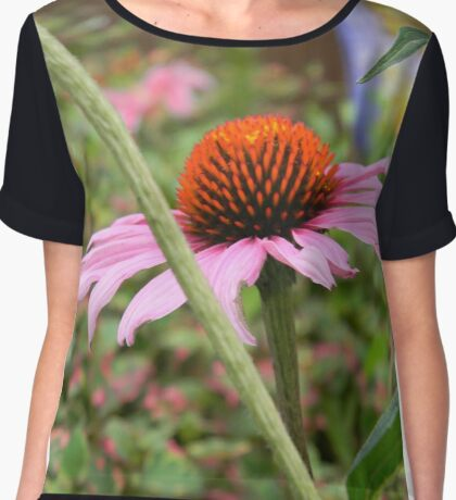 Pink Cone Flower Chiffon Top