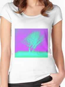 Vaporwave Tree Women's Fitted Scoop T-Shirt