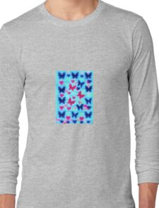 red butterfly around blue Long Sleeve T-Shirt