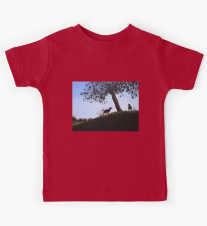 Dogs in park snow landscape painting realist art   Kids Tee