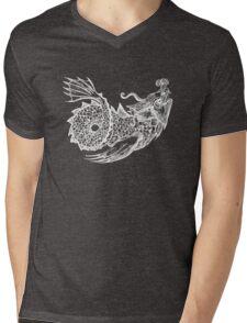 Sea Monster in White Mens V-Neck T-Shirt