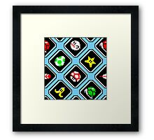 Super Mario Kart / items pattern / blue sky Framed Print