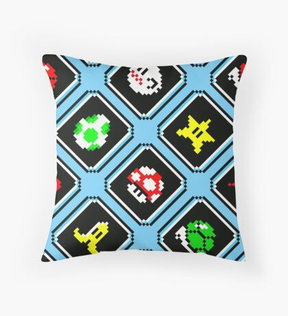 Super Mario Kart / items pattern / blue sky Throw Pillow