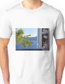 Olive tree in front of a window in Santorini, Greece Unisex T-Shirt