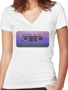 Awesome Mix Vol. 2 Horizontal Women's Fitted V-Neck T-Shirt