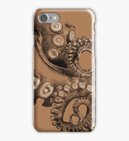 Octopus Tentacle Two-Tone Drawing iPhone Case/Skin