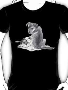 Cute puppy mixed breed with teddy dog realist art  T-Shirt