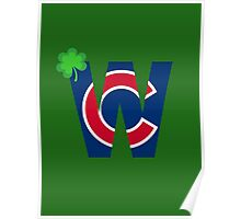 Cubs W with Red/Blue C Irish Edition Poster