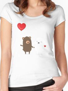 Cute cartoon bear and bunny rabbit holding hands Women's Fitted Scoop T-Shirt