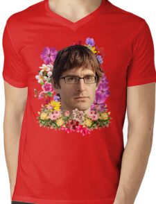 Louis Theroux Floral Mens V-Neck T-Shirt