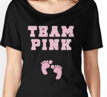 Team Pink Girl Mom Baby Shower Gender Reveal Party Cute Funny Gift Women's Relaxed Fit T-Shirt