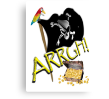 Pirate Flag with Treasure Chest - ARRGH!  Canvas Print
