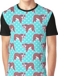 English Bulldog Polk-a-dots Pattern Graphic T-Shirt