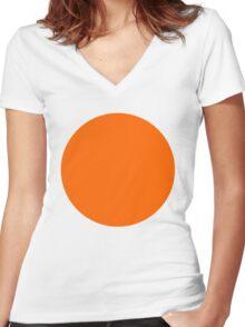 orange circle Women's Fitted V-Neck T-Shirt