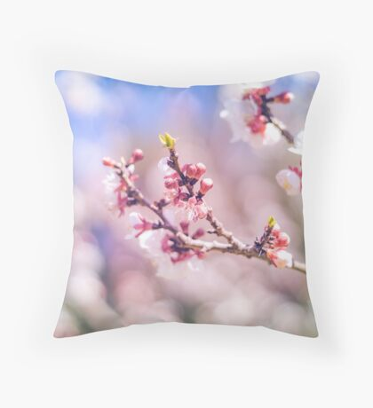 Peach flowers Throw Pillow