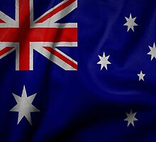 Waving Australian flag on aged canvas by Eti Reid