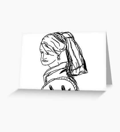 Girl with a pearl earring - Johannes Vermeer Greeting Card
