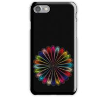Metallic colorful digital art ornament on black iPhone Case/Skin