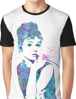 Audrey Hepburn Watercolor Pop Art  Graphic T-Shirt