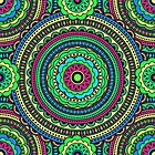 Bright color pattern in the style of boho chic. Ethnic patterns and circles by Nina Vetrova