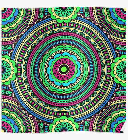 Bright color pattern in the style of boho chic. Ethnic patterns and circles Poster