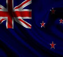 Waving Flag of New Zealand on aged canvas by Eti Reid