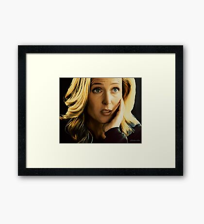 Stella Gibson in oil colors Framed Print