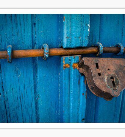 Blue Door with Lock Sticker