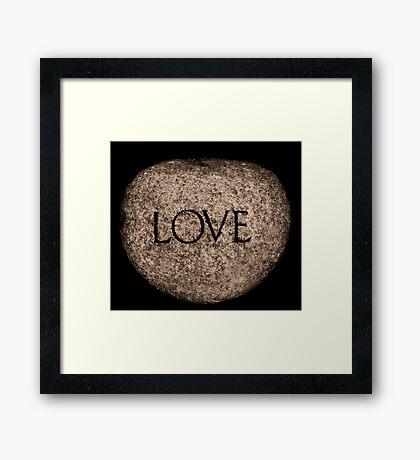 """Love"" Carved Stone Framed Print"