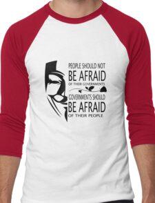 Governments Be Afraid Men's Baseball ¾ T-Shirt