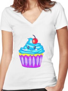 Cutie Cupcake  Women's Fitted V-Neck T-Shirt