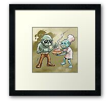 Zombies Share Pie 2 Framed Print