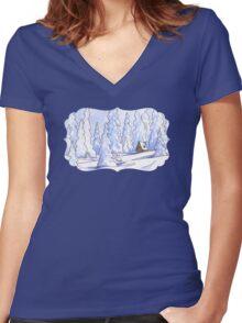 Winter Cabin Women's Fitted V-Neck T-Shirt