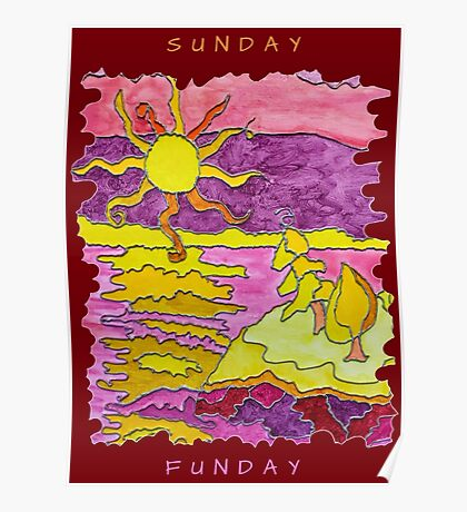 SUNSET ART OCEAN ART SEASCAPE SUNDAY FUNDAY FUNNY QUOTE Poster