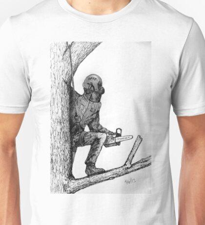 Arborist tree surgeon using chainsaw Unisex T-Shirt