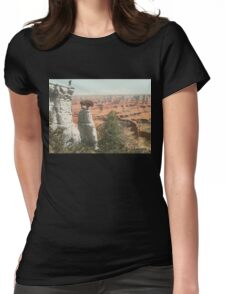 Man with buffalo at the Grand Canyon Womens Fitted T-Shirt